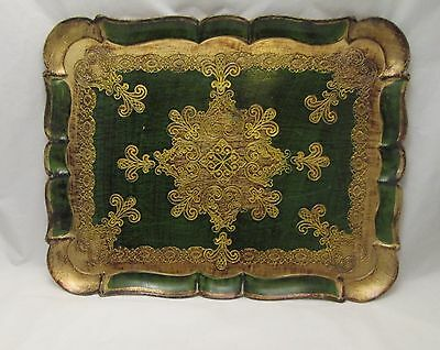 A Retro / Vintage Wooden Treen Italian Tray - Gold & Green