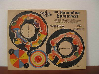 POST Cereals CIRCUS - The HUMMING SPINWHEEL - 1947 Paper Toy