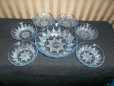Glass Fruit Bowl set 1large bowl and 6 small bowls