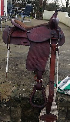 Wide Fit western saddle full size brown Tooled leather genuine USA seat 17""