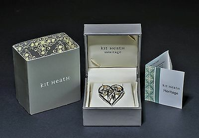 Kit Heath Valentine Sterling Silver And Pearls Heritage Heart Brooch New In Box