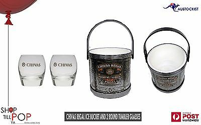 CHIVAS REGAL 2 Tubler Glasses & ICE BUCKET METAL LOOK BNWOT Black and Silver