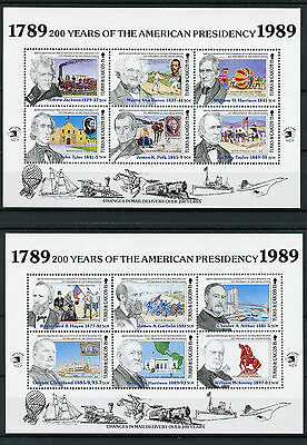 Turks & Caicos 1989 MNH American Presidency 2x 6v M/S US Presidents Stamps
