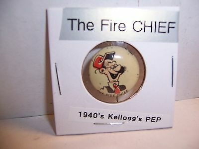 Kellogg's PEP cereal pinback - The Fire Chief