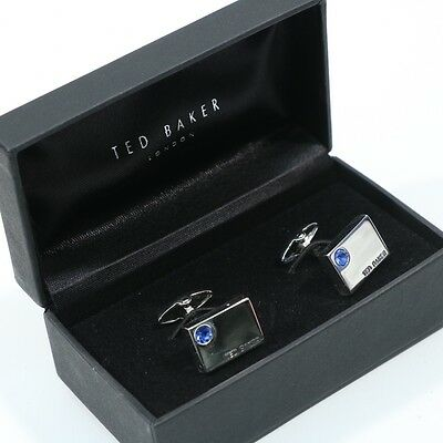Ted Baker London Silver Plated With Blue Stone Rare Collectors Cufflinks