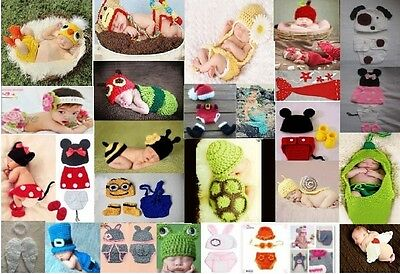 Newborn Baby Girls Boys Crochet Knit Costume Photo Photography Prop Hats Outfit