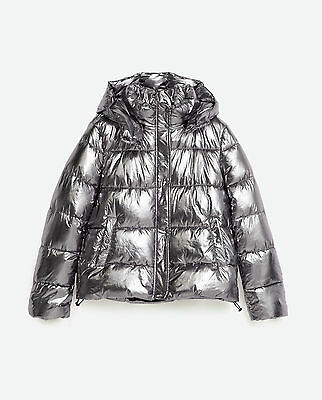 Zara New A/w2016 Metallic Silver Short Quilted Puffer Jacket Ref 3427/231Size M