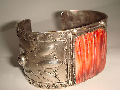 Vtg Old Pawn Fred Harvey Era Navajo Ster. Silver Spiny Oyster Whirling Log Cuff