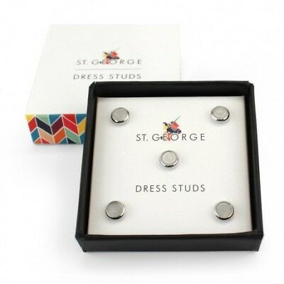 Round Mother of Pearl and Silver Dress Shirt Studs - Set of 5
