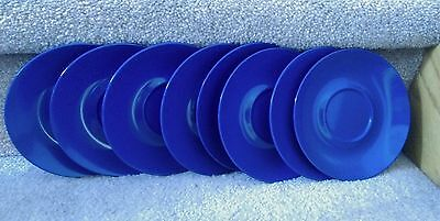 Texas Ware set of 8 blue saucers