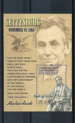 Union Island Grenadines Vincent 2011 MNH Abraham Lincoln Gettysburg 1v SS Stamps