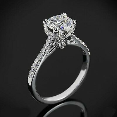 1Ct Off White Moissanite Diamond Pave Set Engagement Wedding Ring 10k White Gold