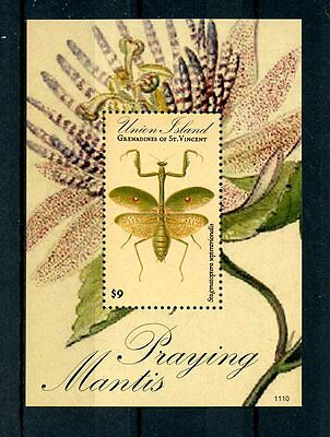 Union Island Grenadines St Vincent 2011 MNH Praying Mantis 1v S/S Insects Stamps