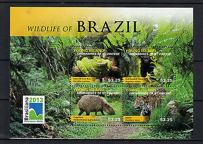 Young Island Gren St Vincent 2013 MNH Wildlife of Brazil 4v M/S Snakes Stamps