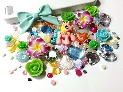 Bright Pastel Fun Little Pony Theme Decoden Kit - Jewels Cabochons Pearls Gems