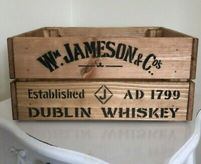 Wooden W Jameson & Co Dublin Whiskey Wine Crate Box Storage Shabby Chic Retro