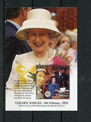 Zambia 2002 MNH HM Queen Elizabeth II Golden Jubilee Accession 50 1v S/S Stamps