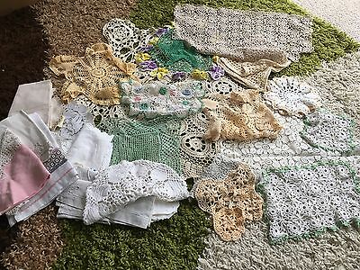 Huge Job Lot 36 Vintage Crochet Knitted Lace Doilies