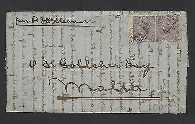 1865 Gb Used Abroad In Egypt B01 Pair Of Six-Pence Plate 5 On Cover To Malta