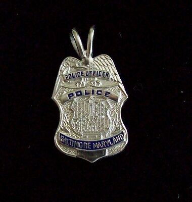 Baltimore MD Police Officer Mini Badge in Sterling Silver