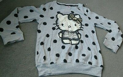 Brand New NEXT Hello Kitty Top Sweatshirt Jumper Grey Balck Girls Age: 8 Years