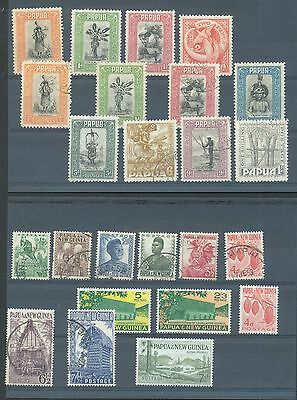 Papua 1932 4 MH and 8 used on card also a card of 12 PNG 1952-61 MH or used