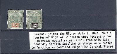 Sarawak 1897 16 Cents and 32 Cents U/M and Mounted Mint High Cat Value