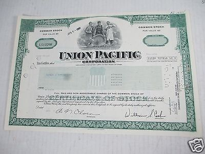 Union Pacific Corp Transportation Stock Certificate Shares Railroad Canceled