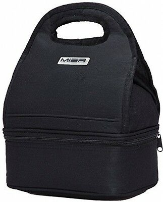 New Black Bag Lunch Insulated Picnic Bags Kids School Thermal Cool Cooler Carry