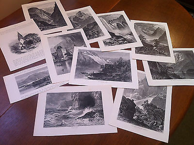 10 antique prints of Norway - picturesque Norway