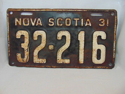 1931 Nova Scotia License Plate #32-216