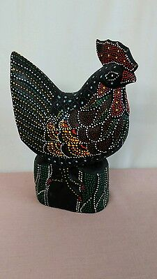 Tall Carved Wooden Chicken Statue Rooster Figurines Farm Hen ~ Indonesia