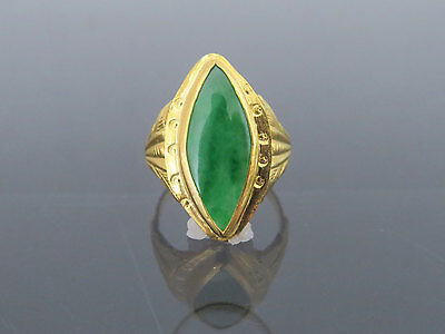 Vintage 24K Solid Gold Natural Marquise Emerald Green Jadeite Jade Ring Size 6