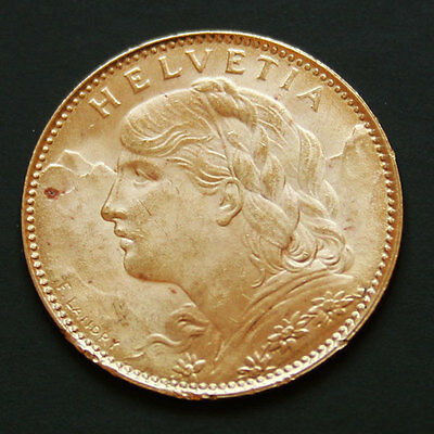 10 francs or Suisse Vreneli Gold coin Swiss 1922