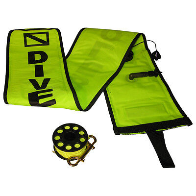 Signal Tube, Reel, Whistle Scuba Dive safety kit, surface marker buoy combo YEL.