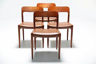 Vintage Teak Dining Chairs by Niels Moller Leather model 75