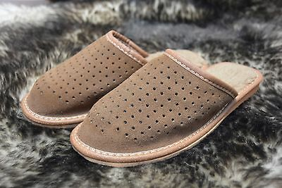 Womens Ladies Sheeps Wool Leather Slippers Mules Clogs Size 7