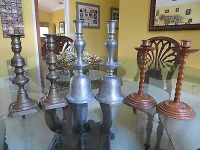 RARE 3 PAIRS Antique CANDLESTICKS LOT-BRASS, PEWTER & FAUX WOOD-Beautiful!