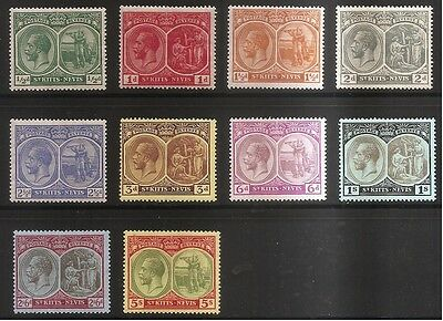 St. Kitts Nevis 1920 10 Stamps Mounted Mint