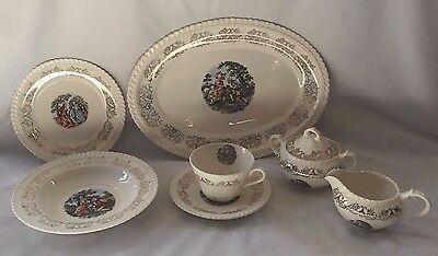 """Vintage"""" Courting Couple"""" Complete Tea Set with 22kt Gold Trim"""