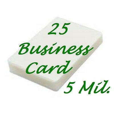 25- Business Card Laminating Laminator Pouches Sheets 2-1/4 x 3-3/4... 5 Mil