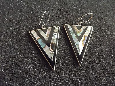 Mexican Silver & Abalone Triangular Drop Earrings