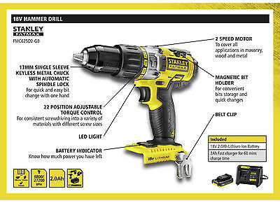 New & Sealed - Stanley Fatmax cordless hammer drill - 2 x Li-ion 18V 2Ah, case