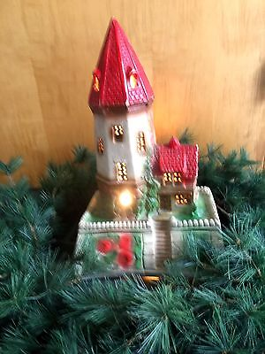 Large Antique Christmas Carnival House that Lights up Lamp
