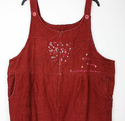 Vintage Rustic Corduroy Ladies Dungarees Festival Overalls Womens Playsuit XL