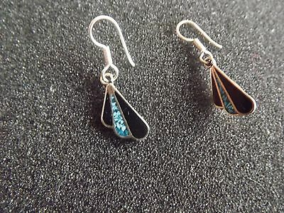 Mexican Silver & Turquoise Drop Earrings