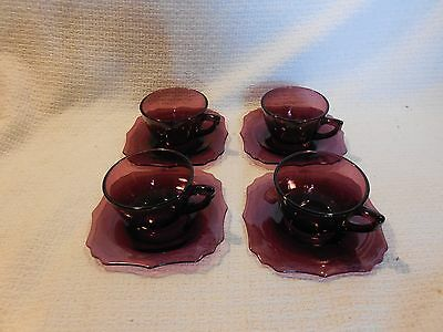 "4 L E Smith Glass Mt. Pleasant Amethyst cups & 5 3/4"" Square Saucers"