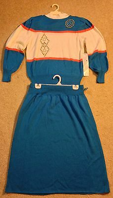 Vintage Vivanti Blue/White/Orange  Sweater & Coordinating Blue Skirt Set Size 16