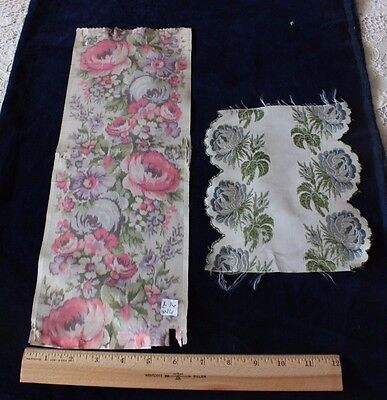"""2 French Antique Victorian Rose Silk Woven Ribbons~16""""L X 6""""W, 8""""L X 6""""W"""