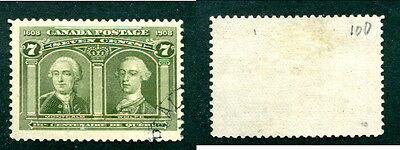 Used Canada 7 Cent Quebec Tercentenary Stamp #100 (Lot #12575)